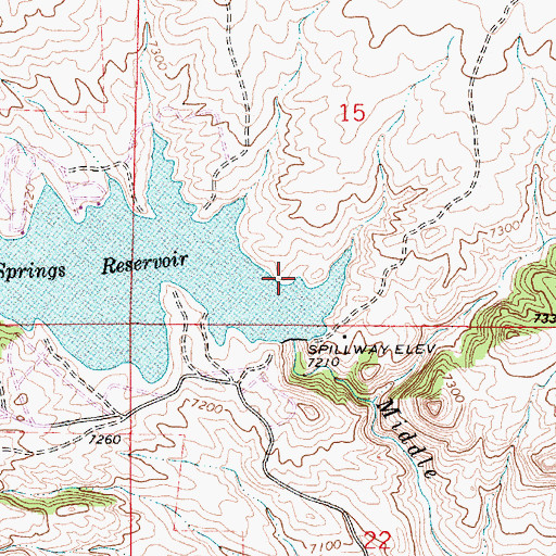 Topographic Map of Granite Springs Dam, WY