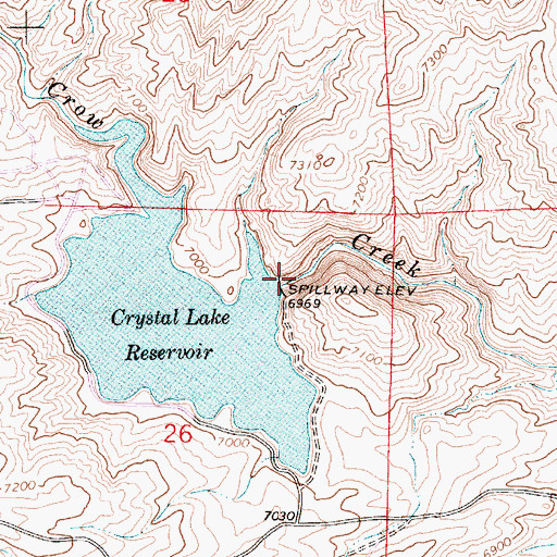 Topographic Map of Crystal Lake Dam, WY