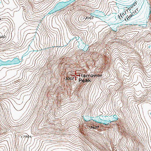 Topographic Map of Harrower Peak, WY