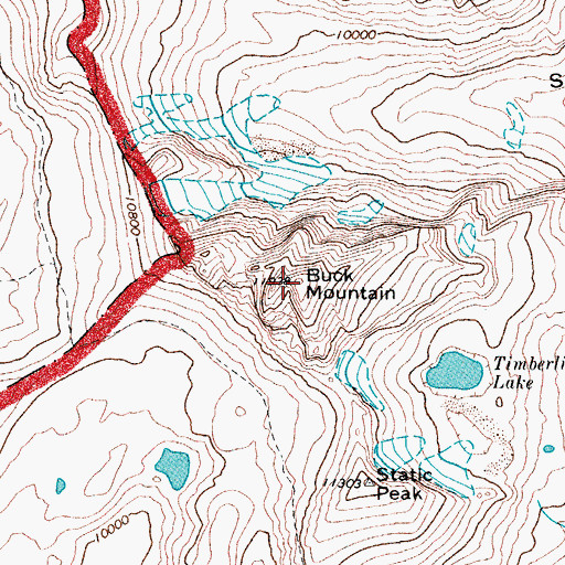 Topographic Map of Buck Mountain, WY