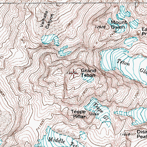Topographic Map of Grand Teton, WY