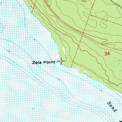 Topographic Map of Zela Point, MI