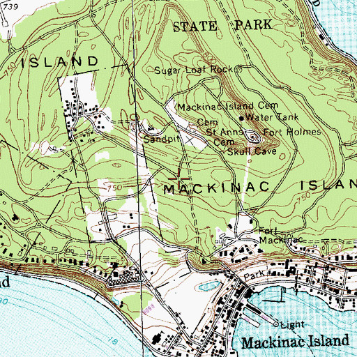 Topographic Map of City of Mackinac Island, MI