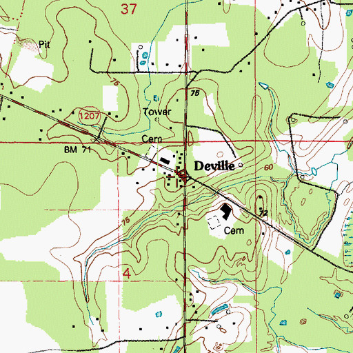 Topographic Map of Deville Post Office, LA
