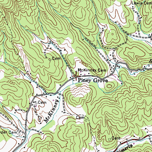 Topographic Map of Piney Grove, TN