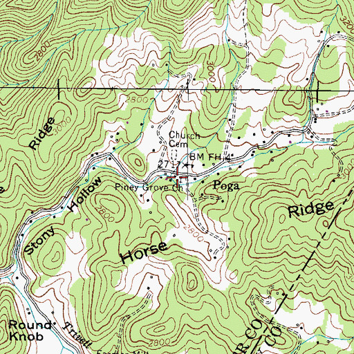 Topographic Map of Piney Grove Church, TN
