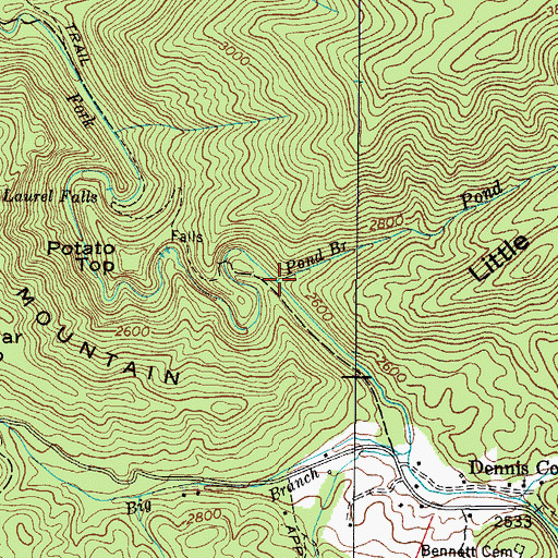 Topographic Map of Pond Branch, TN