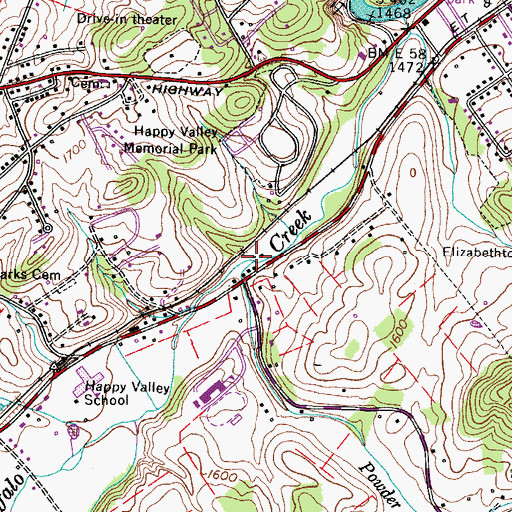 Topographic Map of Powder Branch, TN