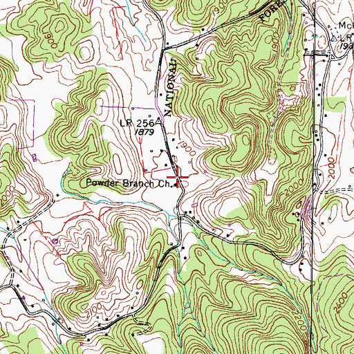 Topographic Map of Powder Branch Church, TN