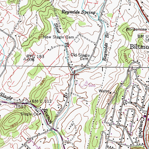 Topographic Map of Reynolds Branch, TN