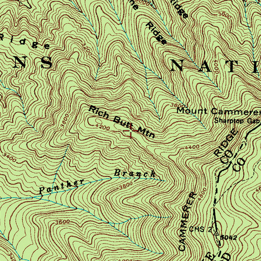 Topographic Map of Rich Butt Mountain, TN