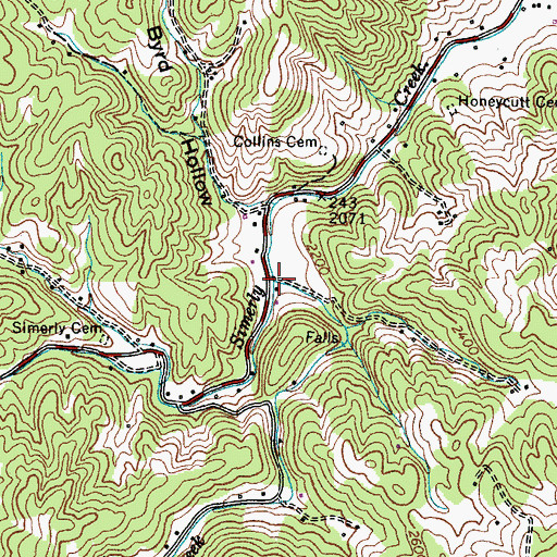 Topographic Map of Sally Cove Creek, TN