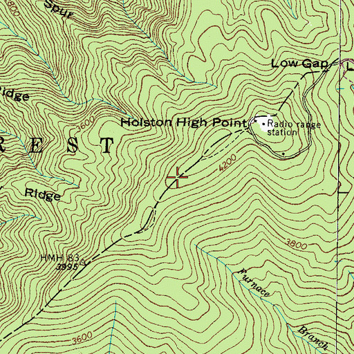Topographic Map of WETS-FM (Johnson City), TN