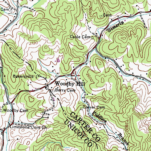 Topographic Map of Fiddlers Hollow, TN