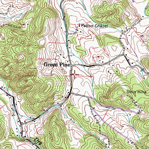 Topographic Map of Green Pine School (historical), TN