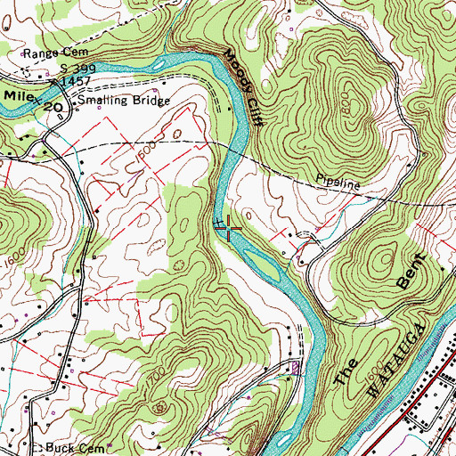 Topographic Map of Hart Ford, TN