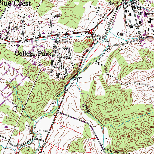 Topographic Map of Pugh Branch, TN