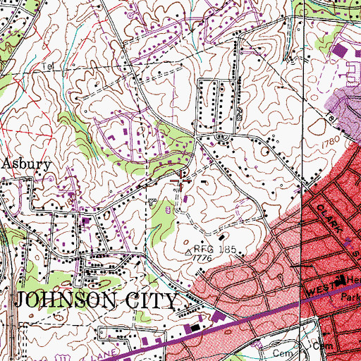 Topographic Map of Millercrest, TN