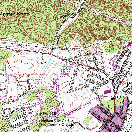 Topographic Map of Oak Park, TN