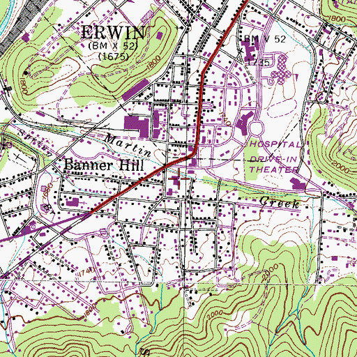 Topographic Map of Martin Chapel Elementary School, TN