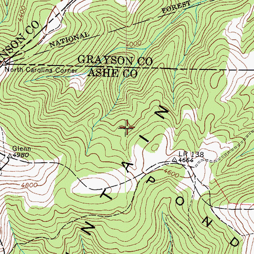 Topographic Map of Pond Mountain, TN