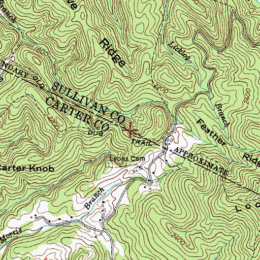 Topographic Map of Old Dug Trail, TN