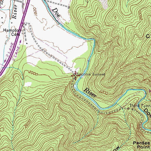 Topographic Map of Second Tunnel, TN