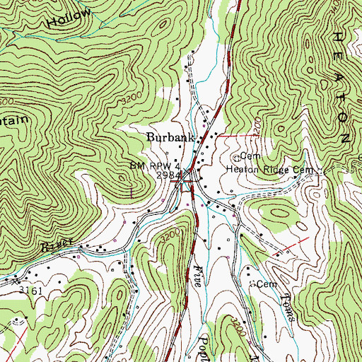 Topographic Map of Toms Branch, TN