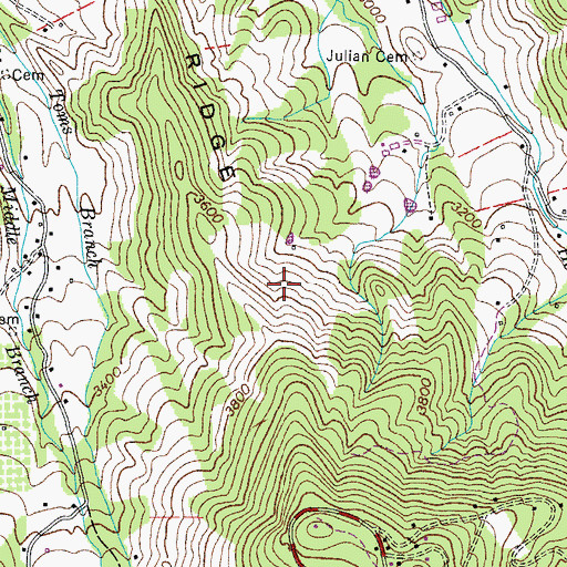 Topographic Map of Heaton Ridge, TN