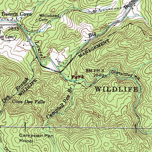 Topographic Map of Campbell Pen Branch, TN