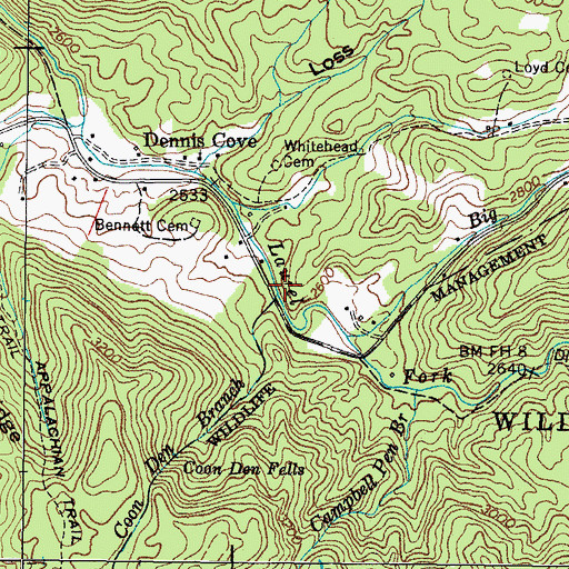 Topographic Map of Coon Den Branch, TN