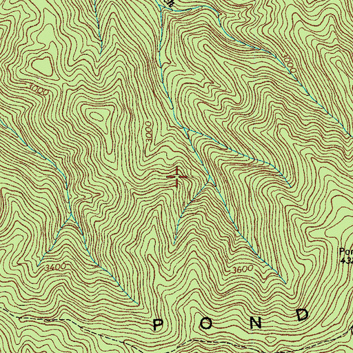 Topographic Map of Pond Mountain Wilderness, TN