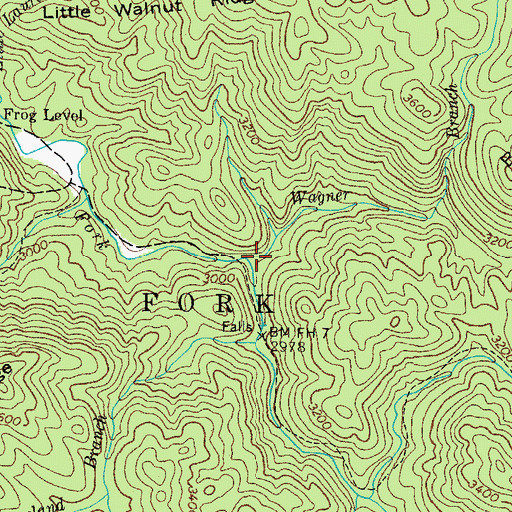 Topographic Map of Wagner Branch, TN