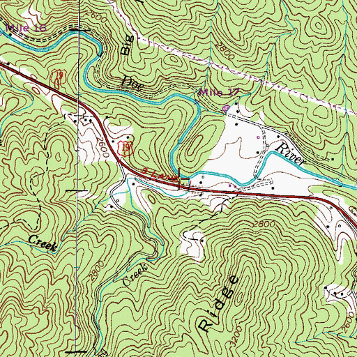 Topographic Map of Roaring Creek, TN