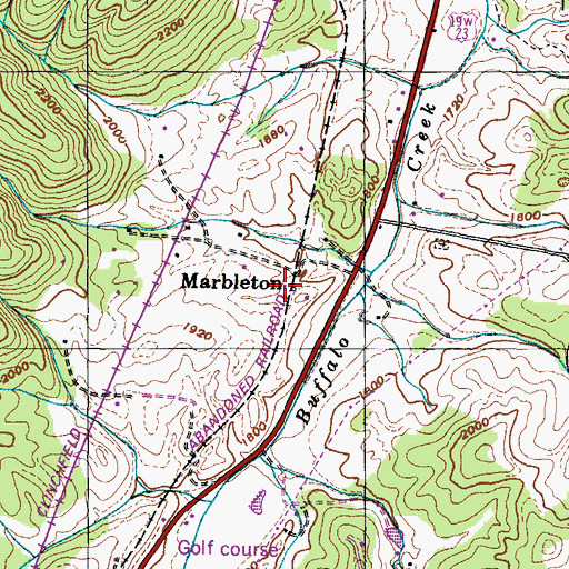 Topographic Map of Marbleton, TN