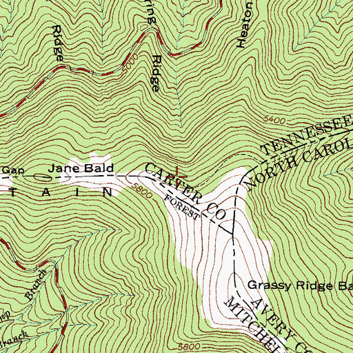 Topographic Map of Grassy Knob Appalachian Trail Shelter, TN