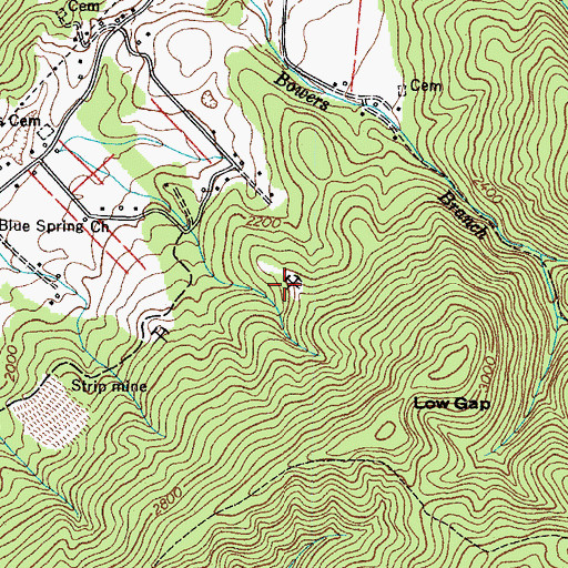 Topographic Map of Bowers Branch Prospect, TN