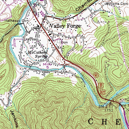 Topographic Map of Purlew Iron Works (historical), TN
