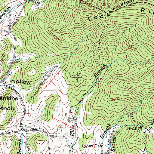 Topographic Map of Red Bird Hill Mine, TN