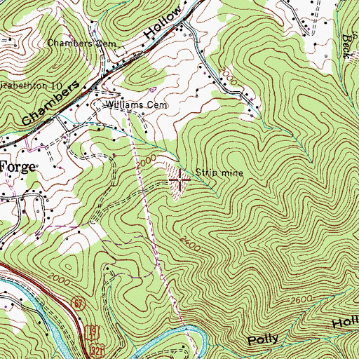 Topographic Map of Valley Forge Mine, TN
