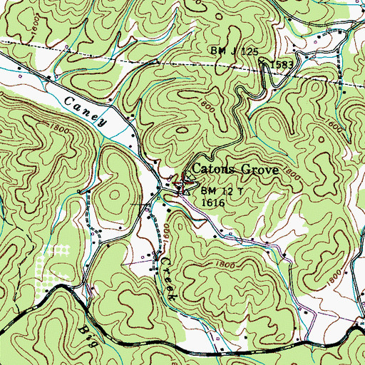 Topographic Map of Catons Grove Methodist Church, TN