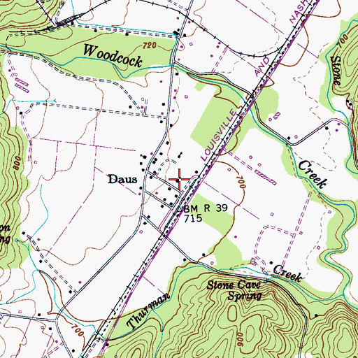 Topographic Map of Daus School (historical), TN