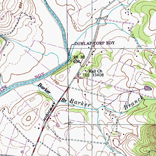 Topographic Map of Hall School (historical), TN
