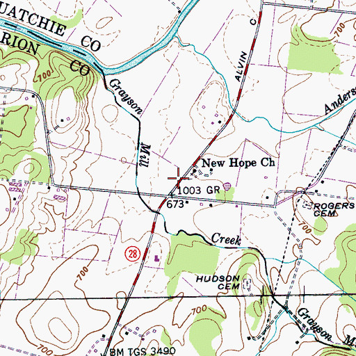 Topographic Map of New Hope, TN