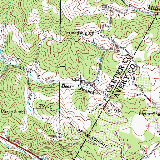 Topographic Map of Buck Mountain, TN