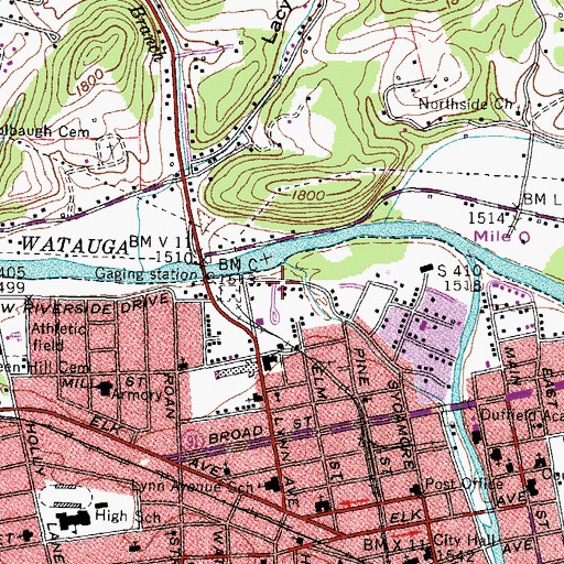 Topographic Map of Carters Ironworks and Mill (historical), TN
