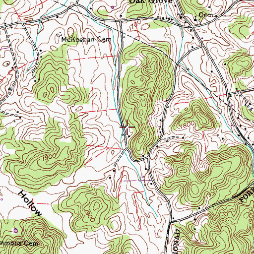 Topographic Map of Hyders Mill (historical), TN