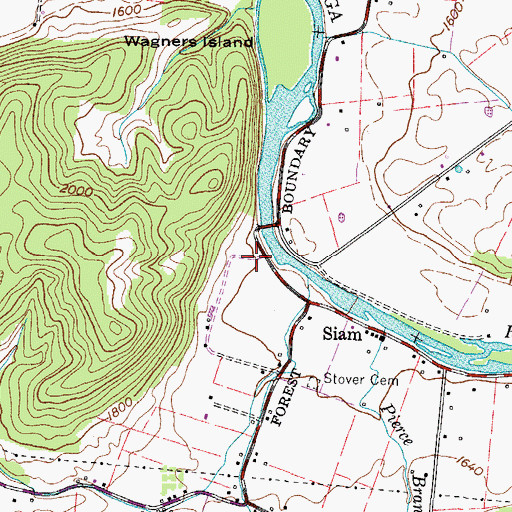 Topographic Map of Nave and Bowers Forge (historical), TN