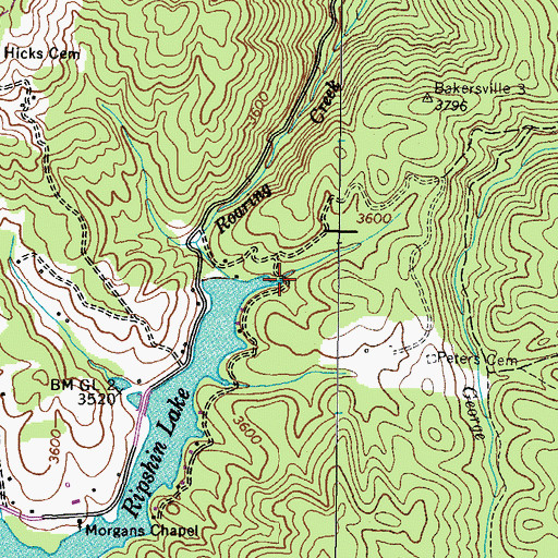 Topographic Map of Hogum Hollow, TN