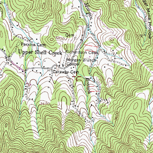 Topographic Map of Winter Hollow, TN